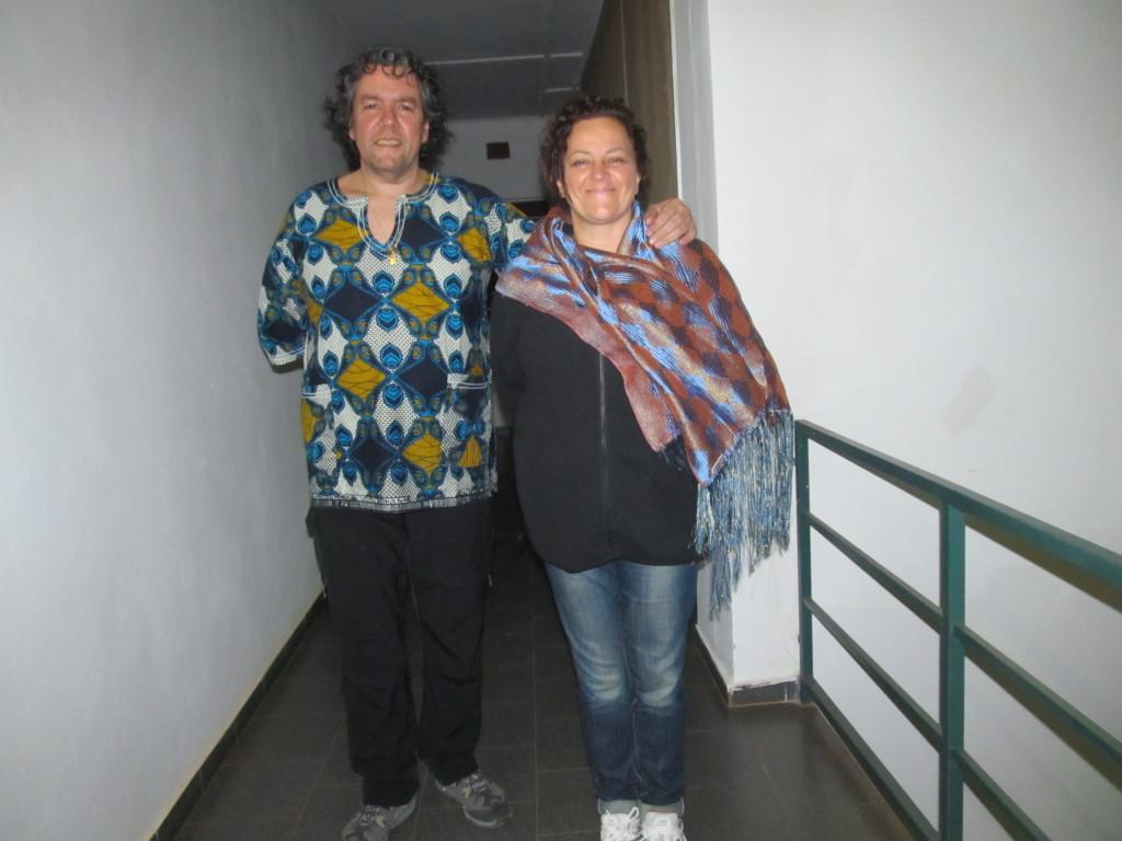 Fabio Giaimo posing with Cinzia Fanfano at Volunteer house, Balaka