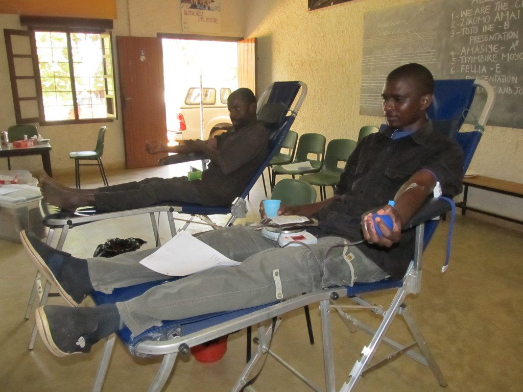 Goster donating blood