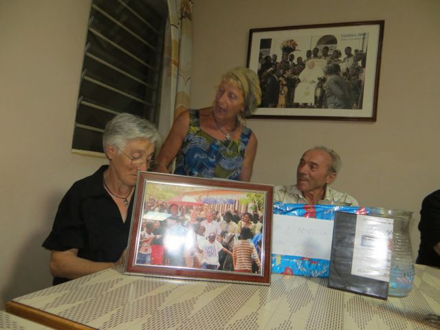Mirella and Beppe showing off their gifts