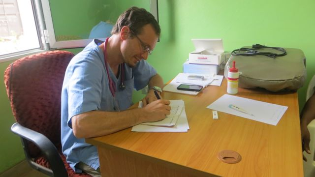 Dr Giovanni at the paediatric ward