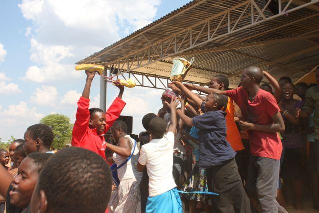 Andiamo Secondary School students celebrate the victory