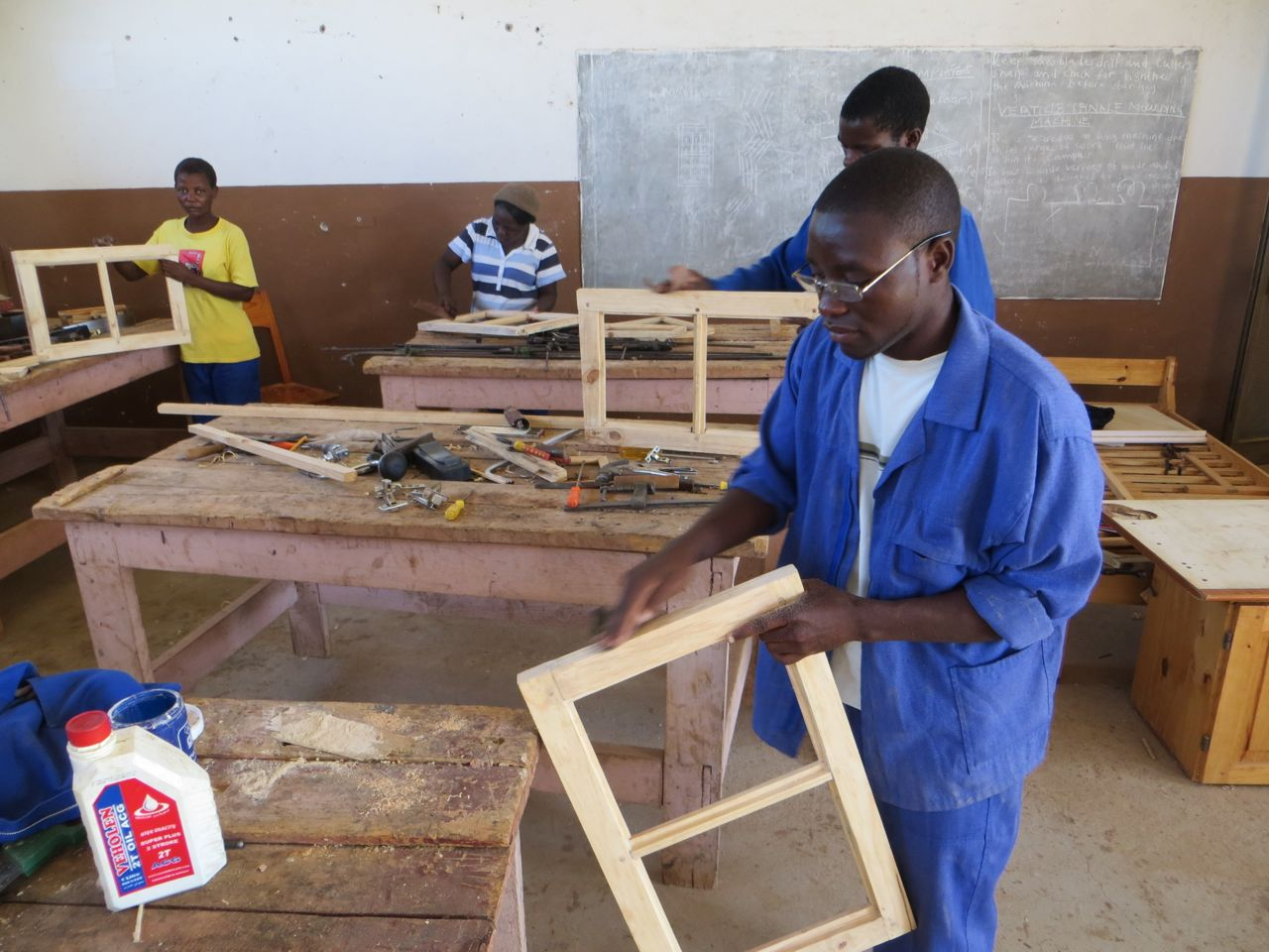 Carpentry and Joinery students in the workshop