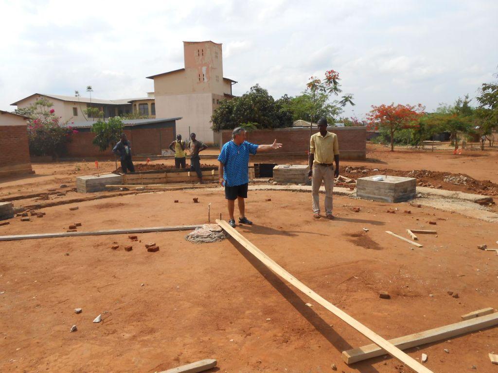 Inspecting the foundation of Andrea Woyera Chapel
