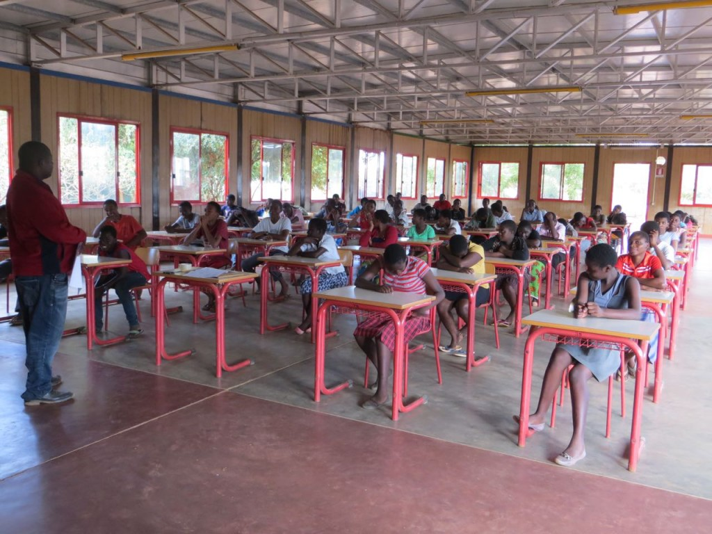 Form II students familiarising themselves with the examination hall