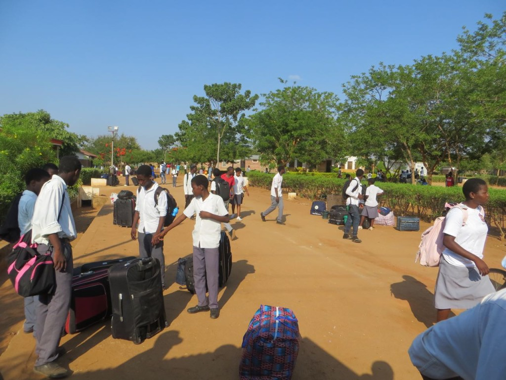 Students leaving for home